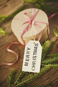 Merry Christmas tag on gift